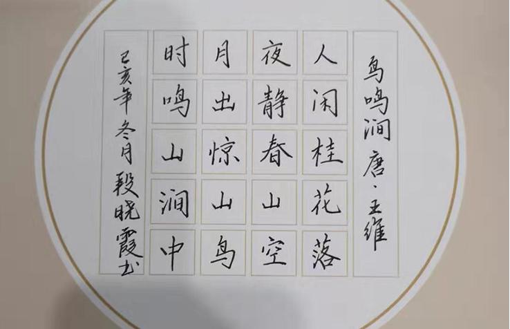 钢笔楷书欣赏·锋格练字段晓霞作品《鸟鸣涧》